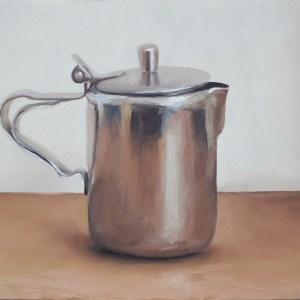 Rvs melkkan, olieverf op paneel, 13,5 x 18,5 cm, Serge de Vries