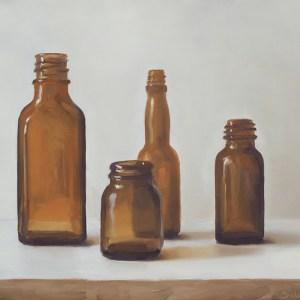 Apothekersflesjes, olieverf op paneel, 15,5 x 19,5 cm, Serge de Vries