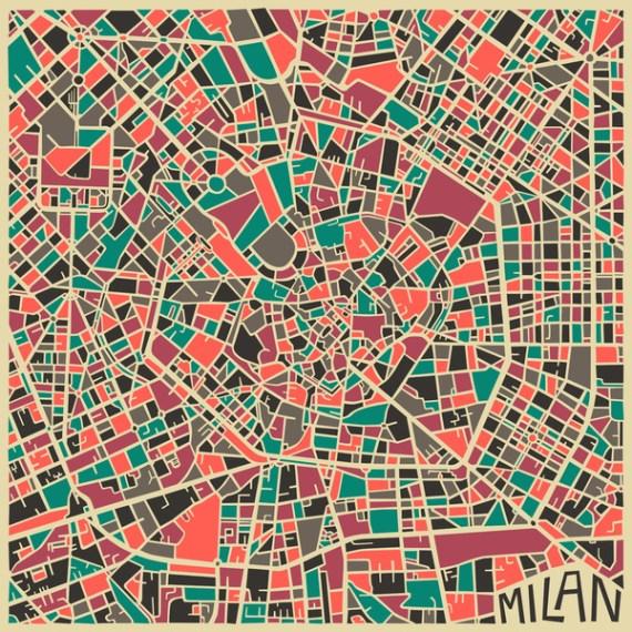 MILANO - City Maps Art - Jazzberry Blue