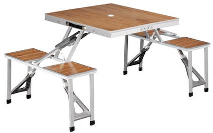 table picnic pliante avec tabouret aluminium et bambou 150x86x67cm