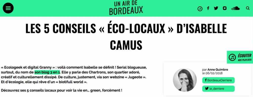 Les 5 conseils éco-locaux d'-Isabelle Camus pour Un Air de Bordeaux