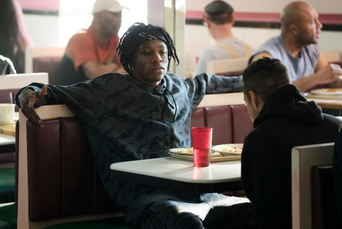 "MR. ROBOT -- ""eps2.0_unm4sk%u2010pt1.tc"" Episode 201 -- Pictured: Joey Bada$$ as Leon -- (Photo by: Peter Kramer/USA Network)"