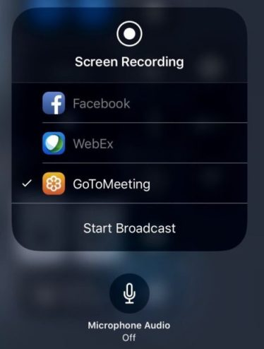 Updated GoToMeeting iOS Client - broadcast setup