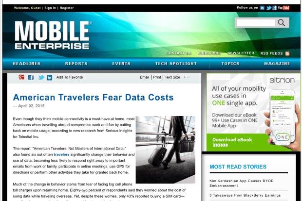 Serious Insights International Data Survey posted Mobile Enterprise