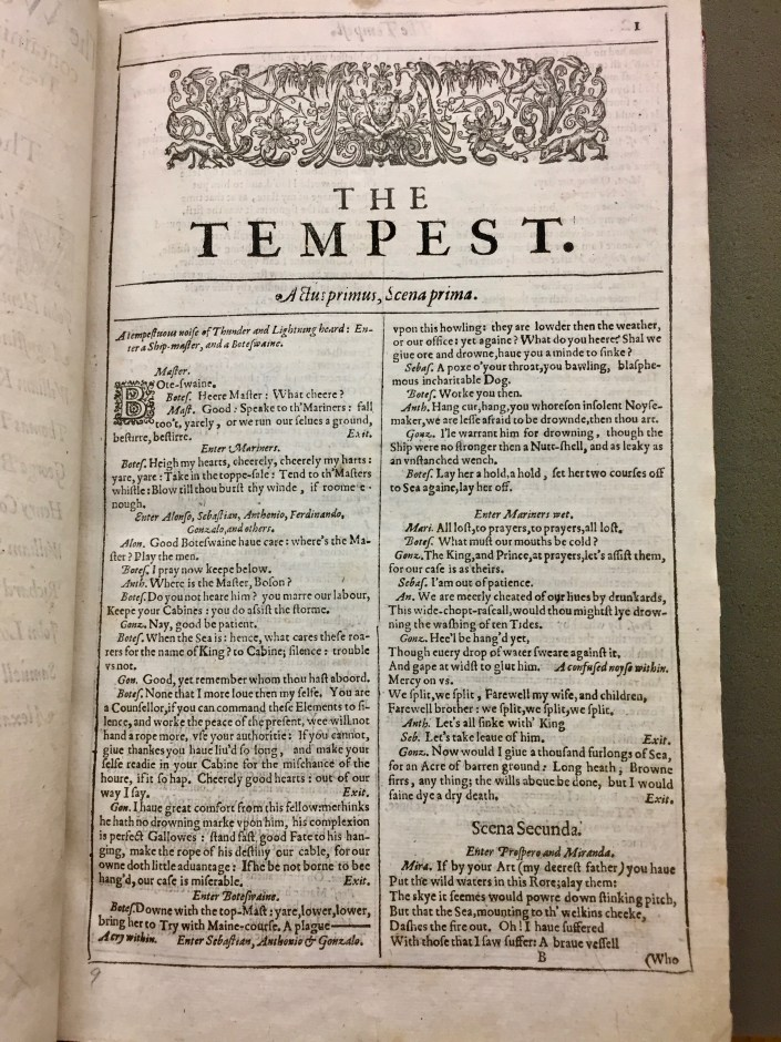 The Tempest from First Folio, Folger STC 22273 Fo. 1 no. 14