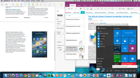 "Parallels Desktop 11 and Parallels Access : Parallels Desktop 11 for Mac running in coherence mode. Microsoft OneNote is running ""outside"" of Windows, and the Windows 10 start menu is available from the Parallels icon."