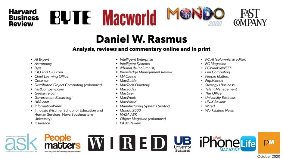 Daniel W. Rasmus publications list updated October 2020