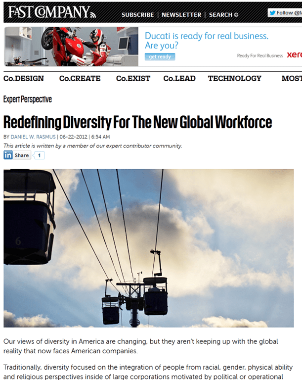 New Fast Company Blog Post: Redefining Diversity For The New Global Workforce