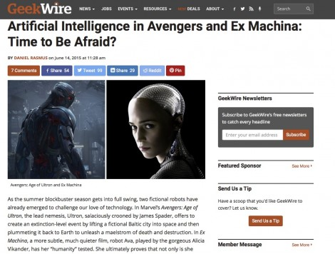 Artificial Intelligence in Avengers and Ex Machina: Time to Be Afraid? up at GeekWire