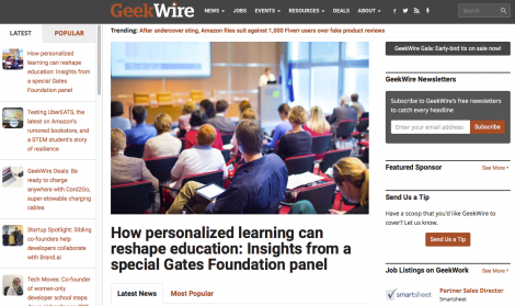 Rasmus on GeekWire: How personalized learning can reshape education