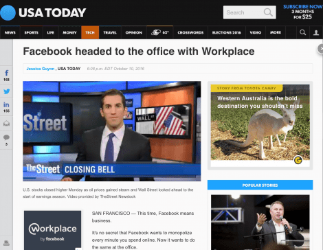 USA Today Facebook @workplace coverage features Serious Insights