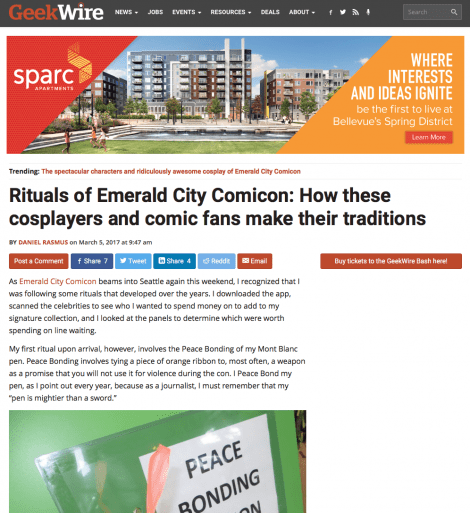 'Rituals of Emerald City Comicon' now up at GeekWire