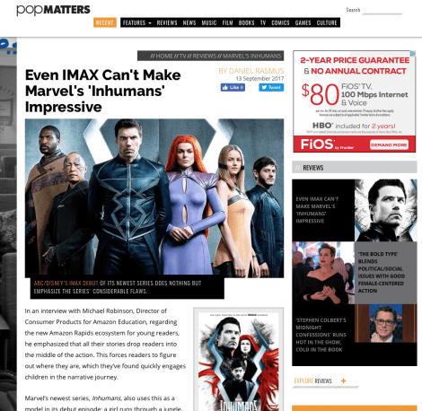 Even IMAX Can't Make Marvel's 'Inhumans' Impressive up at PopMatters