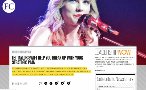 Let Taylor Swift Help You Breakup with Your Strategic Plan, Image from original Fast Company Post