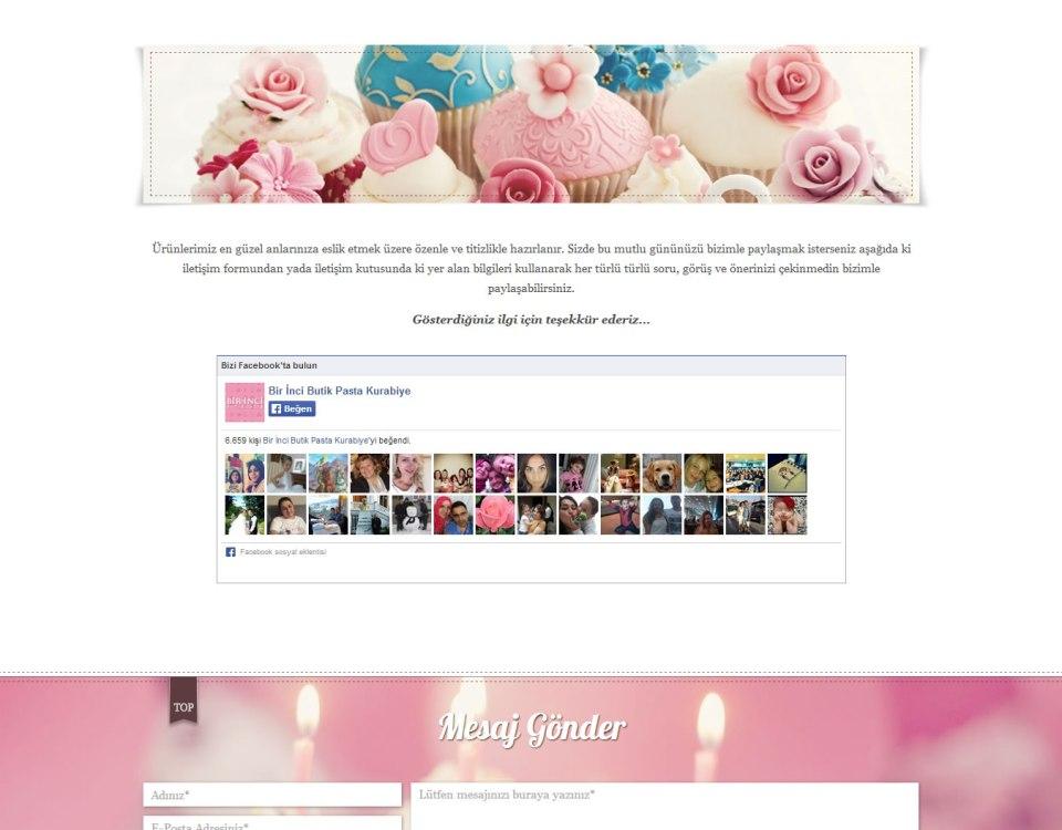 Bir İnci Butik Pasta Web Sitesi
