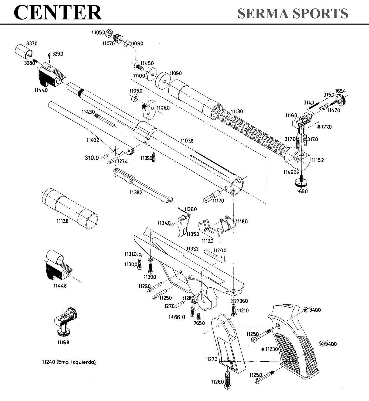 Plano Despiece Pistola Gamo Center 1a Version
