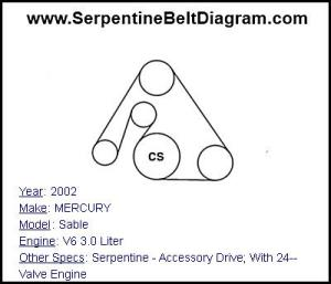 » 2002 MERCURY Sable Serpentine Belt Diagram for V6 30 Liter Engine Serpentine Belt Diagram