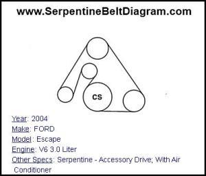 » 2004 FORD Escape Serpentine Belt Diagram for V6 30 Liter Engine Serpentine Belt Diagram