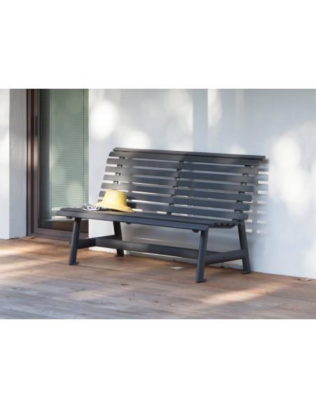 banc square grey 150 cm en aluminium proloisirs