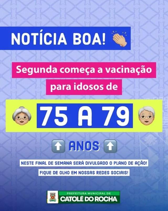 Catolé do Rocha começará a vacinação contra Covid-19 em idosos entre 75 e 79 anos na hoje