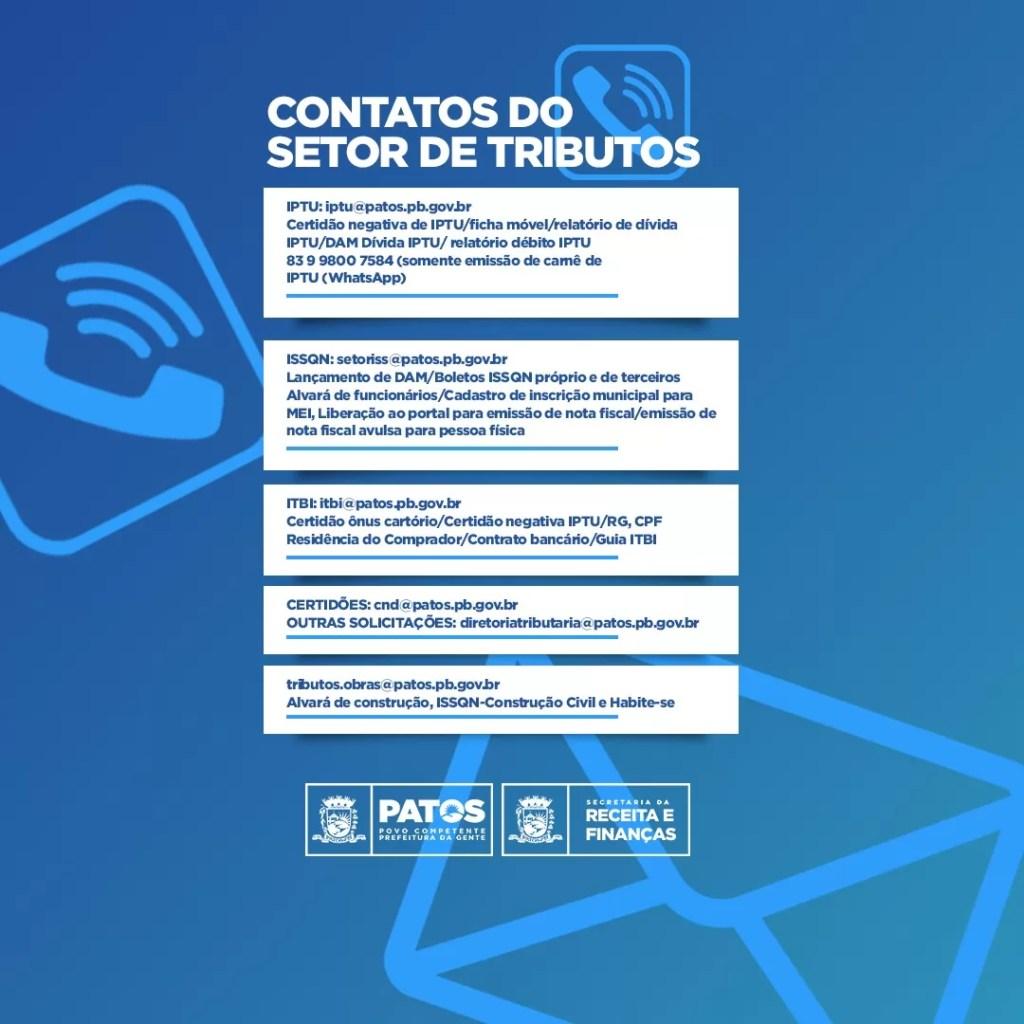 Prefeitura de Patos reforça contatos da Secretaria de Receita para solicitação de documentação