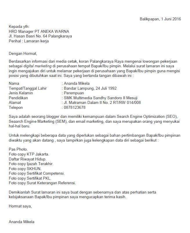 Surat Lamaran kerja untuk posisi Digital Marketing