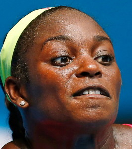 Stephens of the U.S. hits a return to Azarenka of Belarus during their women's singles match at the Australian Open 2015 tennis tournament in Melbourne