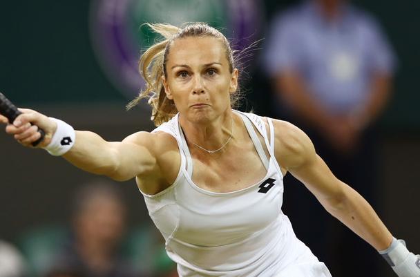 Rybarikova's return of a ball at Wimbledon