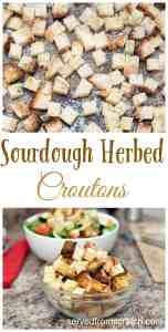 Use up that leftover homemade bread by adding some herbs, cheese, and baking them until perfectly crunchy for the perfect From Scratch Croutons!