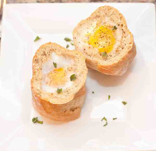 Baked eggs in a homemade baguette with gruyere cheese.  Have your runny yolk baked right in your bread to sop it up with!