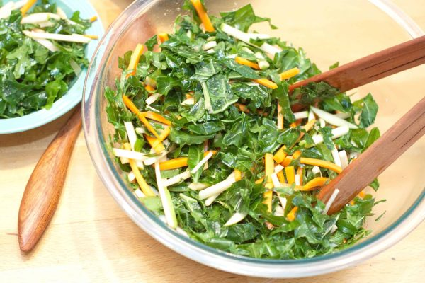 The BEST Kale Salad: massaged shredded kale, with carrots, green apple, rutabaga, an incredibly flavorful yet simple dressing
