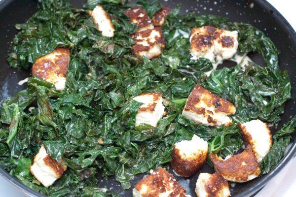Kale Paneer with homemade paneer cheese