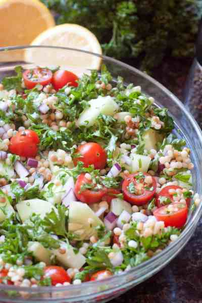 Israeli Couscous Cucumber Salad is refreshing summer salad that's bright and light with fresh herbs and summer garden vegetables!