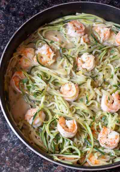 "Watching the carbs? Then make ""Zoodles"" with some fresh zucchini for this healthy, fast, and easy Shrimp Zoodle Scampi!"