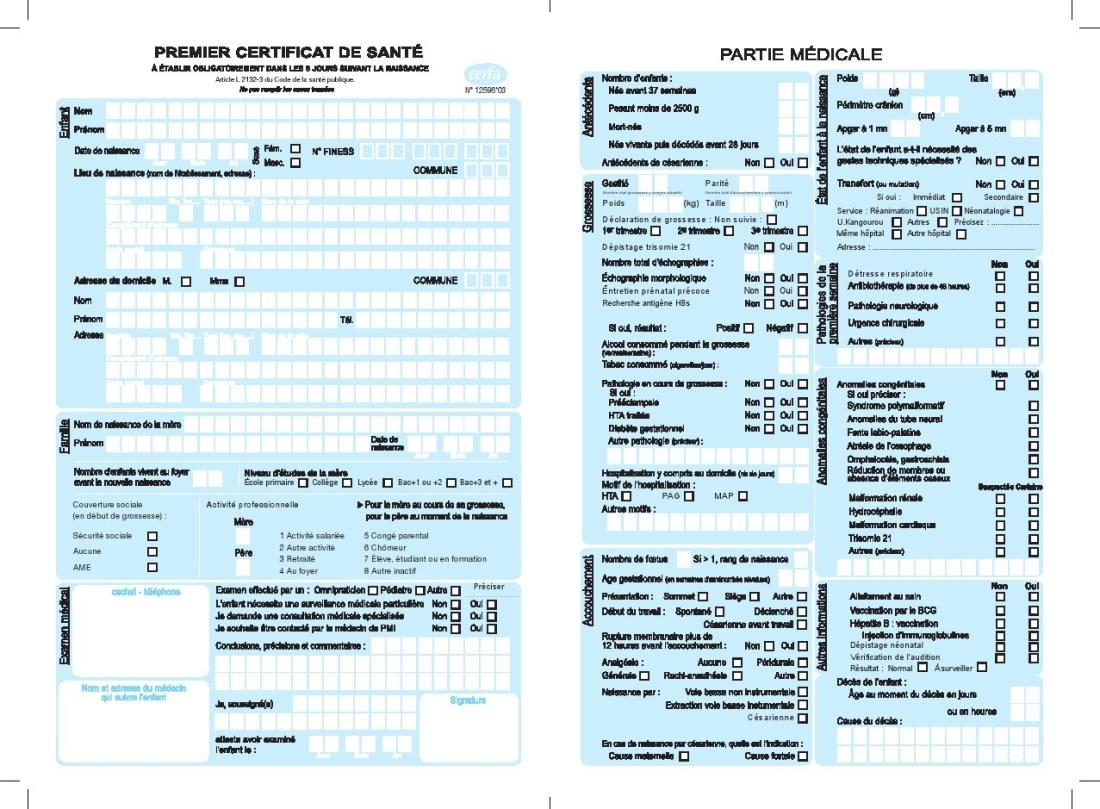 Certificat de Sante 8 jours