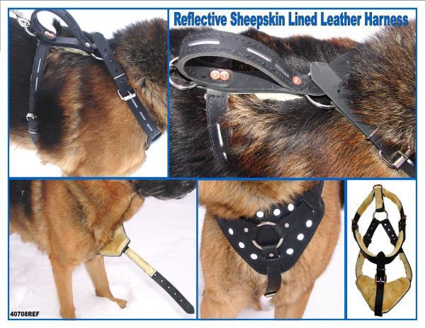 Reflective Sheepskin Lined Leather Harness