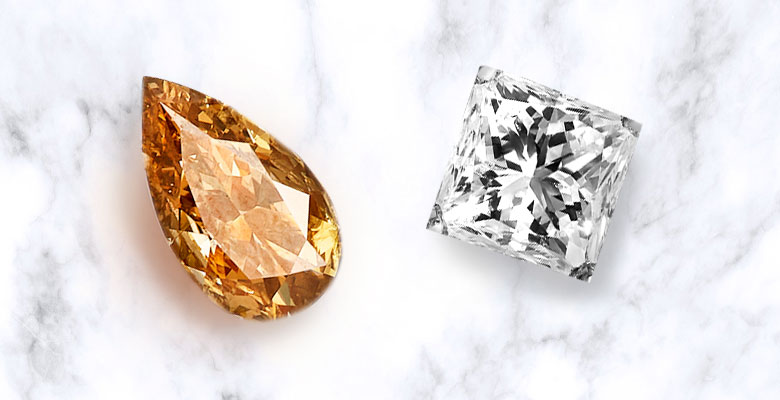 pear shaped fancy color diamond and princess cut diamond