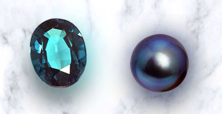 alexandrite and black pearl