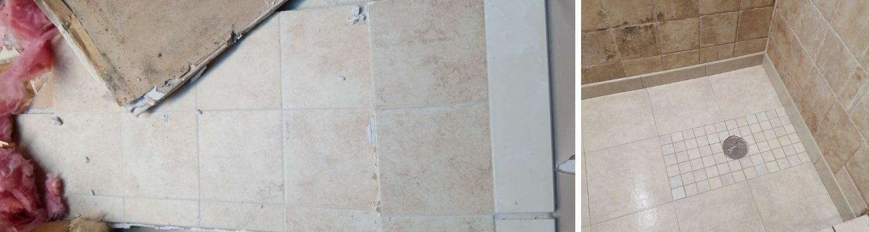 fix water damage behind shower tiles