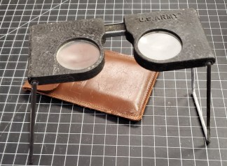 U.S. Army Stereoscope Map Readers with Leather Case - Abrams