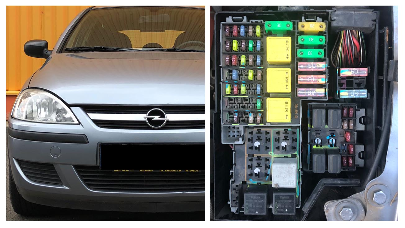 Opel and Vauxhall Corsa C fuses and relay diagram Vauxhall Combo Plate Fuse Box on