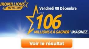 Résultat Euromillions, My Million (FDJ) tirage vendredi 8 Décembre 2017