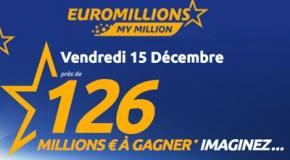 Résultat Euromillions, My Million (FDJ) tirage Vendredi 15 Décembre 2017