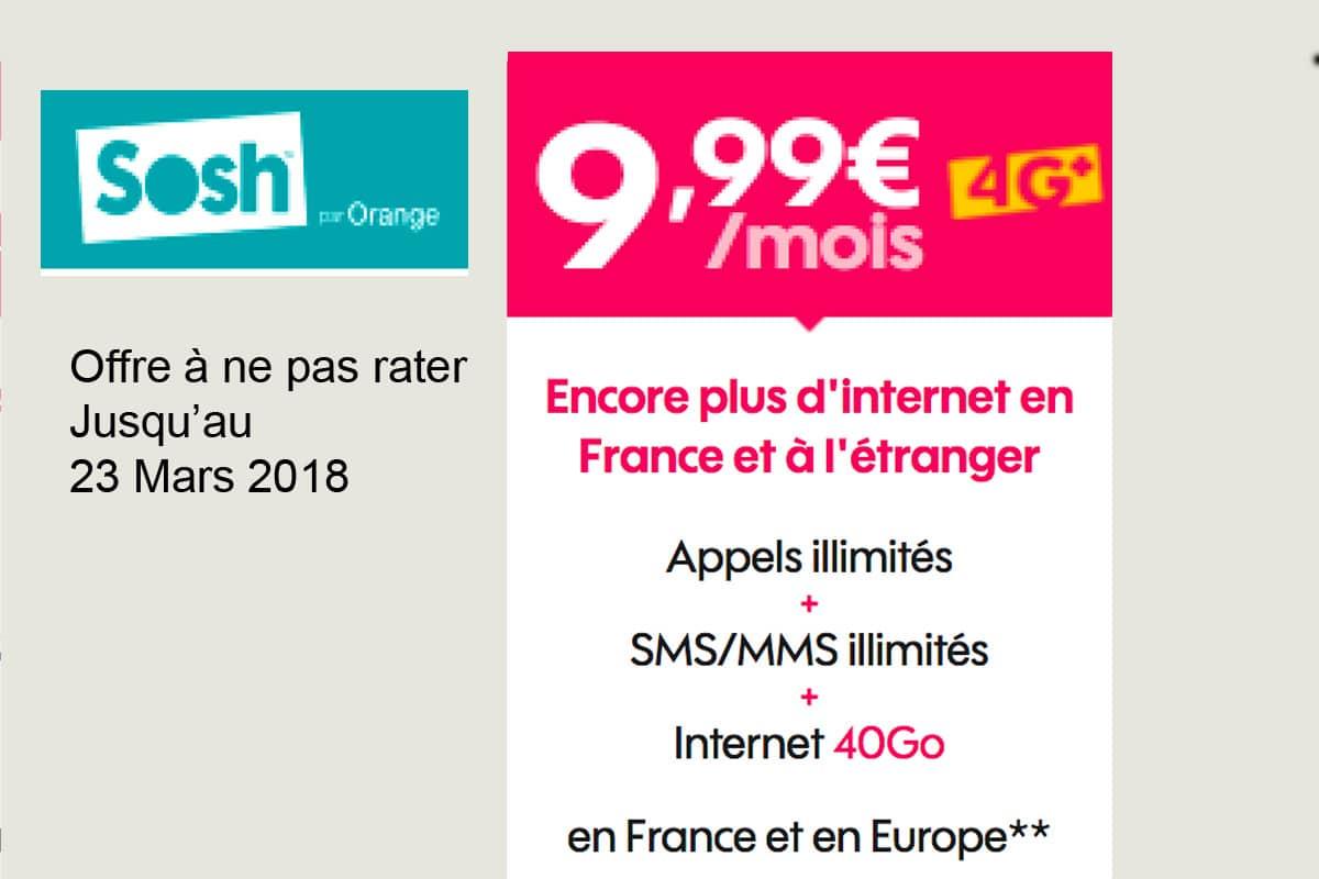 Le forfait Sosh 40 Go en promotion : 10€ seulement pendant un an, sans engagement