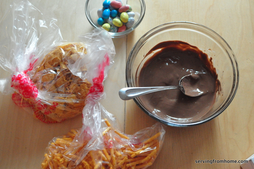 ingredients for chocolate Easter egg nests