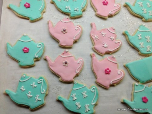 Decorated teapot and tea cup sugar cookies