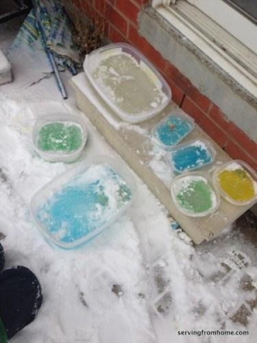 frozen ice blocks