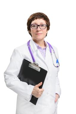 Woman doctor with stethoscope and folder. Isolated on white background