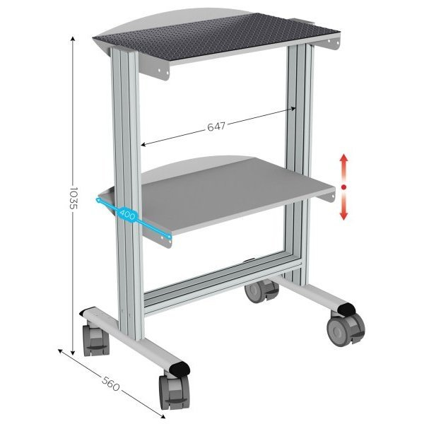 Mobile Trolley W 647 X D 590 X H 1035 Mm Of 2 Levels With Rubber Coating Sesa Systems