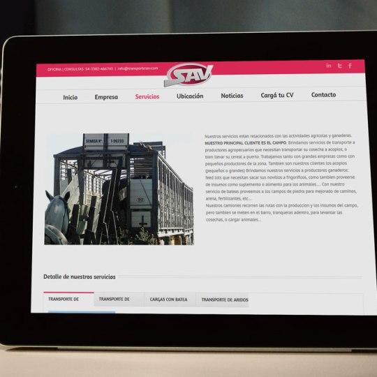 Diseño web para Transporte SAV